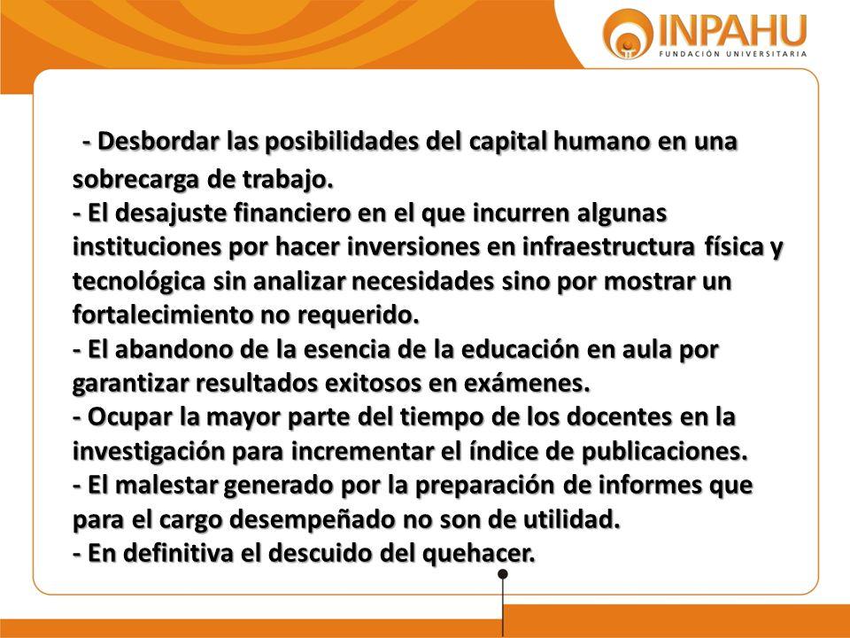 - Desbordar las posibilidades del capital humano en una sobrecarga de trabajo.