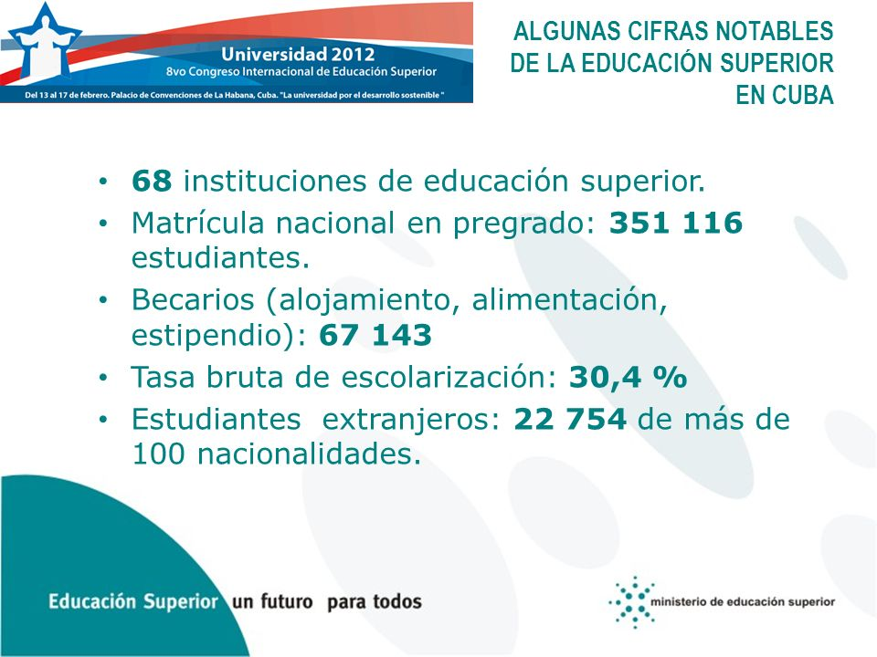 ALGUNAS CIFRAS NOTABLES DE LA EDUCACIÓN SUPERIOR EN CUBA