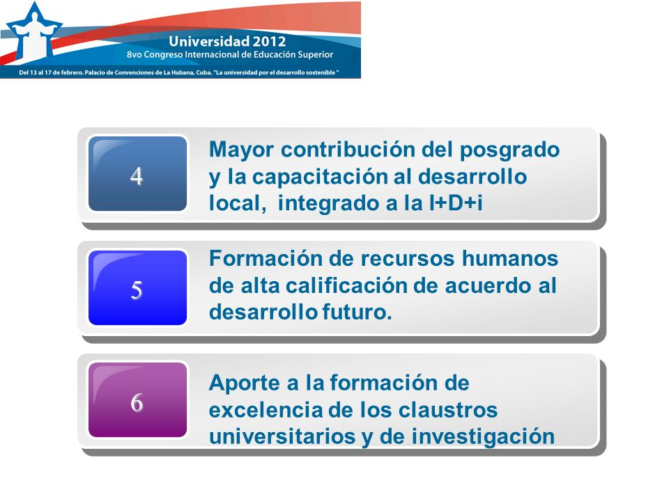 4 Mayor contribución del posgrado y la capacitación al desarrollo local, integrado a la I+D+i. 5.