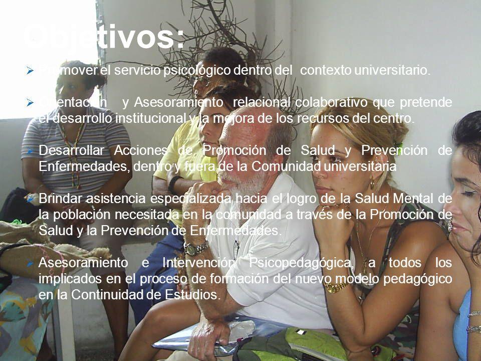Objetivos:Promover el servicio psicológico dentro del contexto universitario.