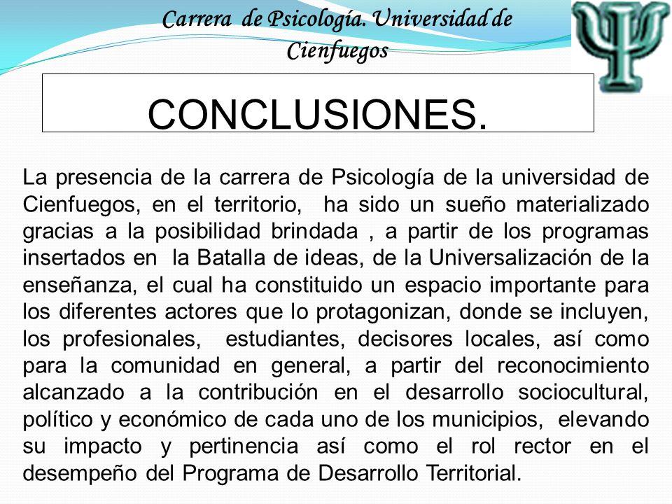 Carrera de Psicología. Universidad de Cienfuegos