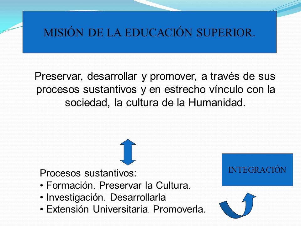 MISIÓN DE LA EDUCACIÓN SUPERIOR.