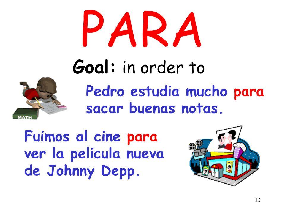 PARA Goal: in order to Pedro estudia mucho para sacar buenas notas.