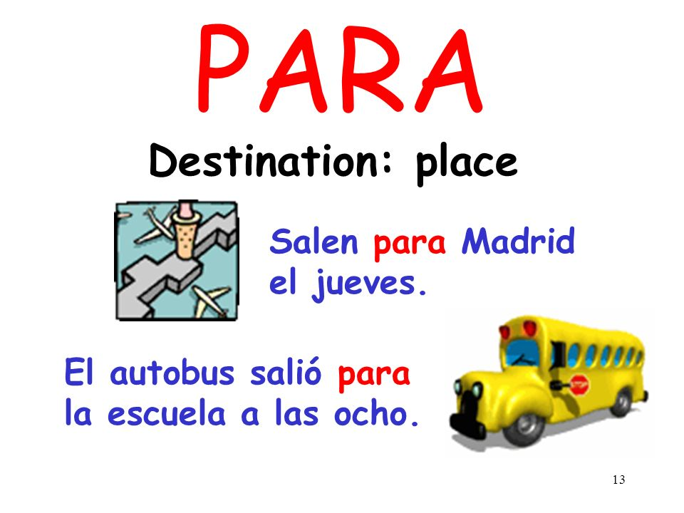 PARA Destination: place Salen para Madrid el jueves.