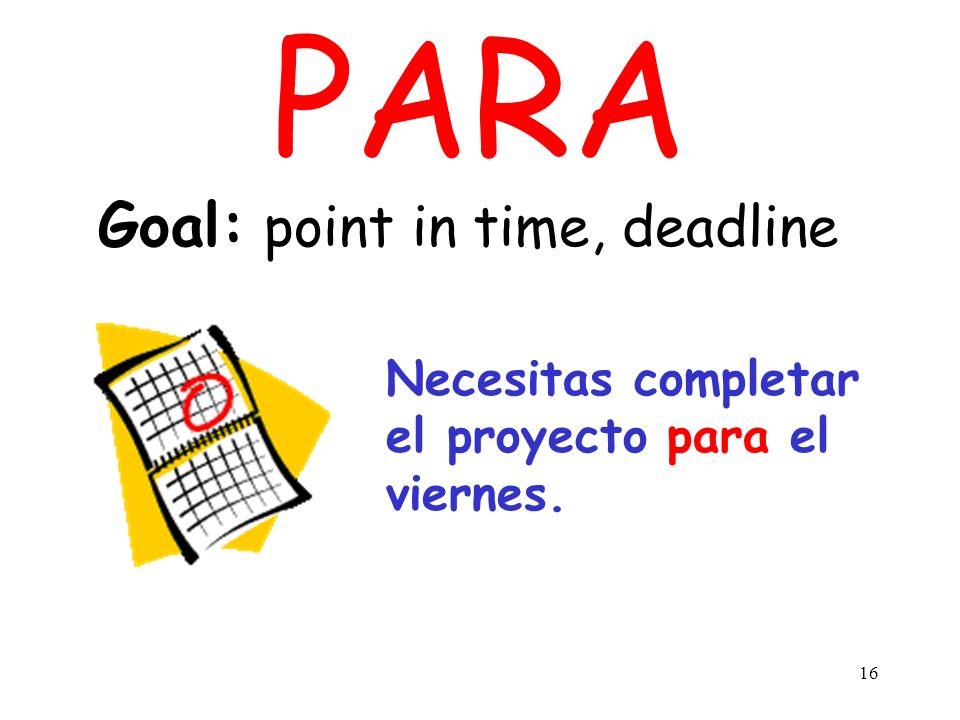 Goal: point in time, deadline