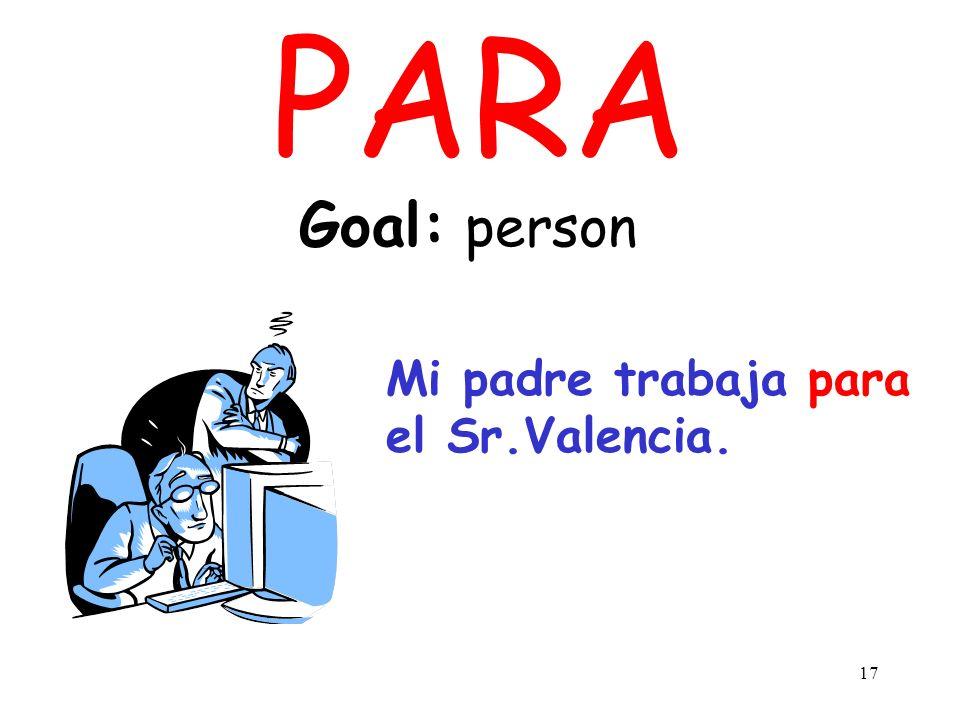 PARA Goal: person Mi padre trabaja para el Sr.Valencia.