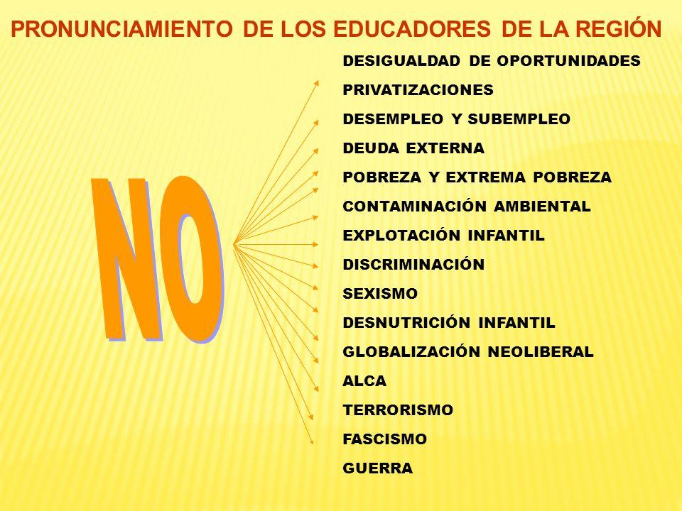 PRONUNCIAMIENTO DE LOS EDUCADORES DE LA REGIÓN