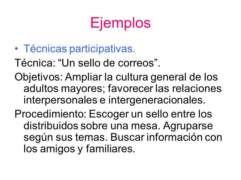 Ejemplos Técnicas participativas. Técnica: Un sello de correos .