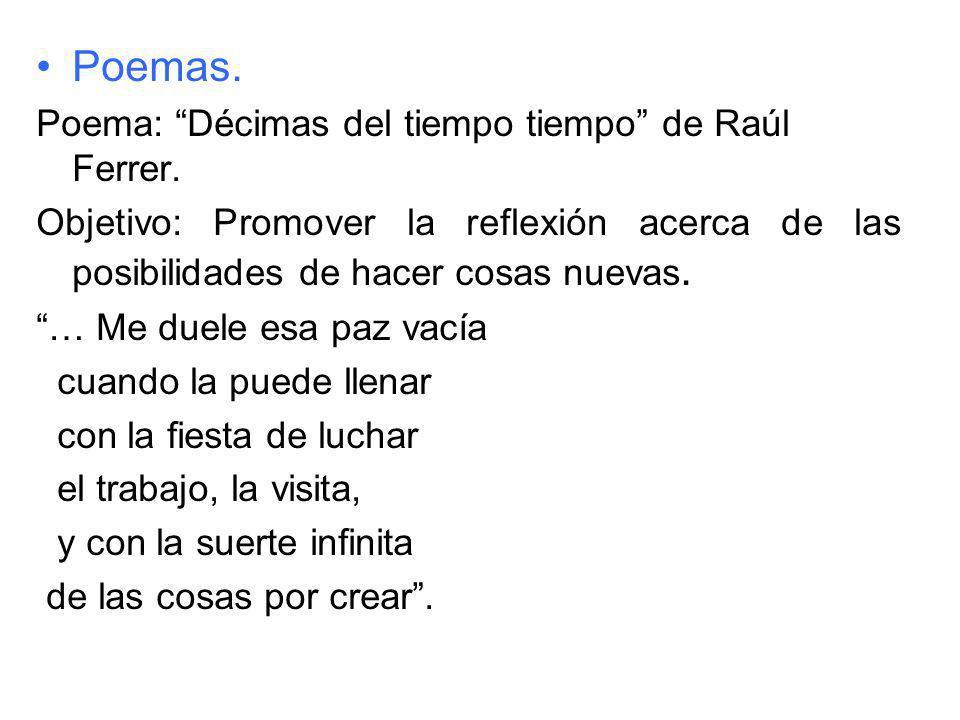 Poemas. Poema: Décimas del tiempo tiempo de Raúl Ferrer.