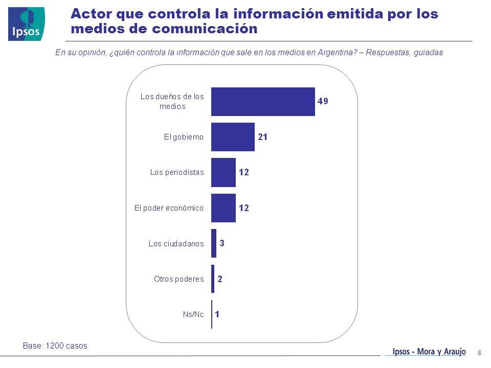 Actor que controla la información emitida por los medios de comunicación