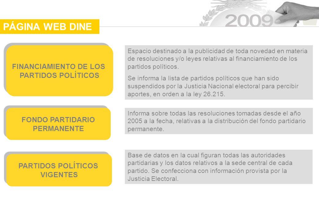 PÁGINA WEB DINE FINANCIAMIENTO DE LOS PARTIDOS POLÍTICOS