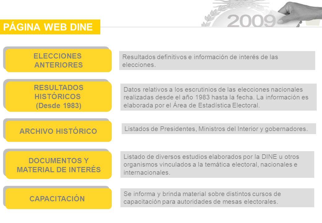 PÁGINA WEB DINE ELECCIONES ANTERIORES RESULTADOS HISTÓRICOS