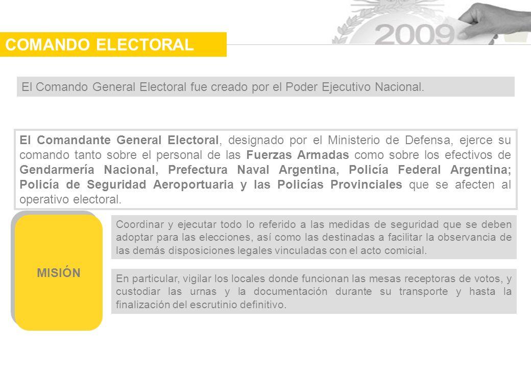 COMANDO ELECTORAL El Comando General Electoral fue creado por el Poder Ejecutivo Nacional.