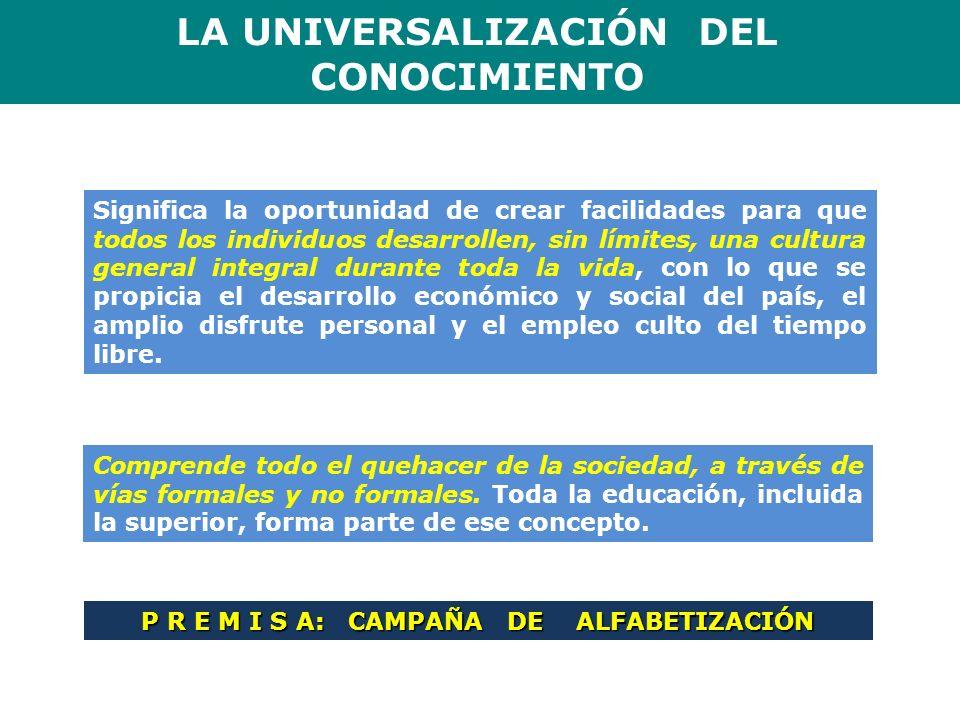LA UNIVERSALIZACIÓN DEL P R E M I S A: CAMPAÑA DE ALFABETIZACIÓN
