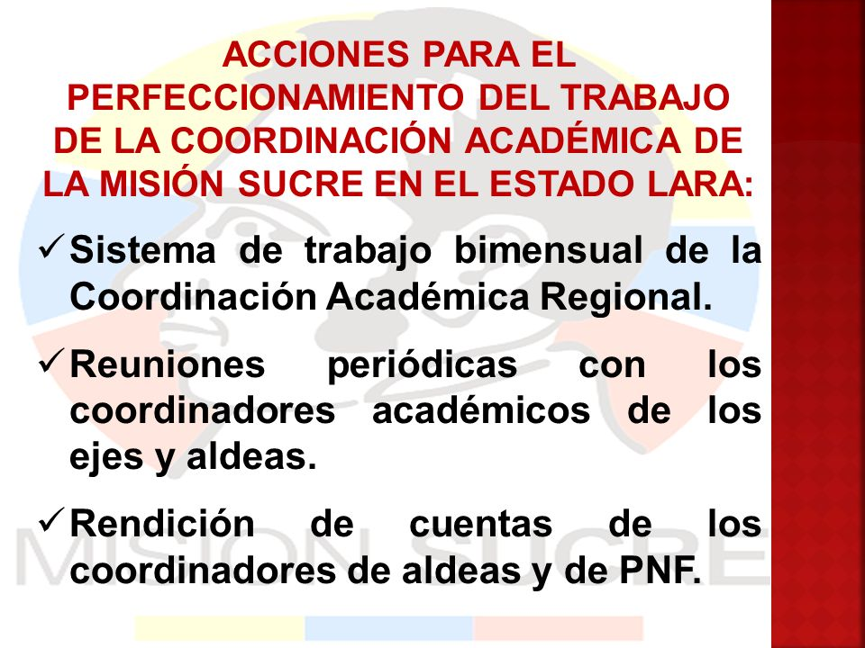 Sistema de trabajo bimensual de la Coordinación Académica Regional.