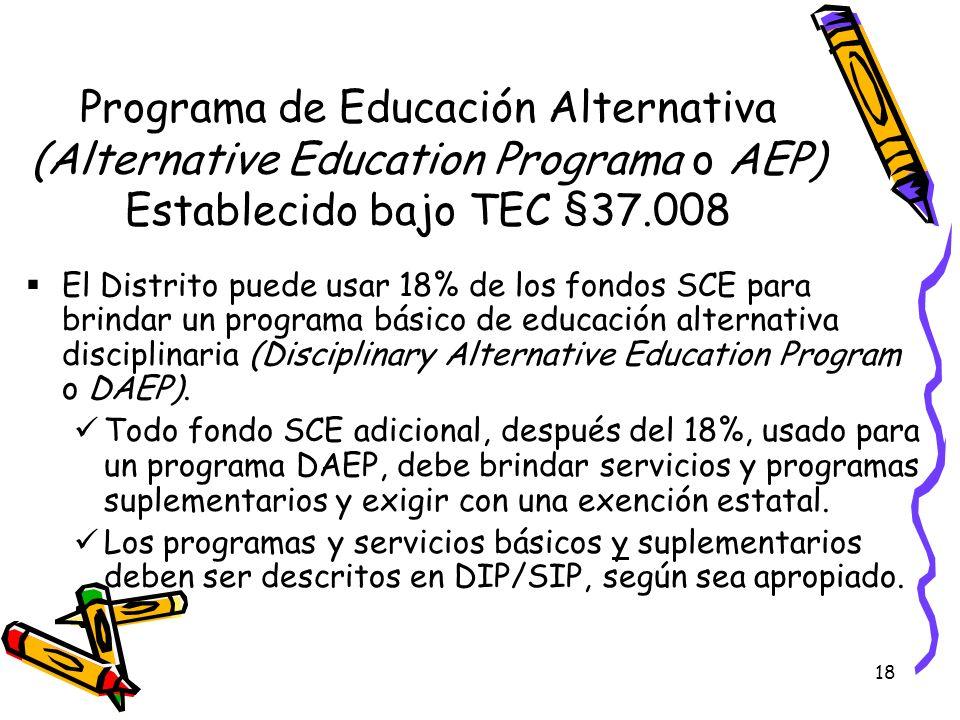 Programa de Educación Alternativa (Alternative Education Programa o AEP) Establecido bajo TEC §37.008
