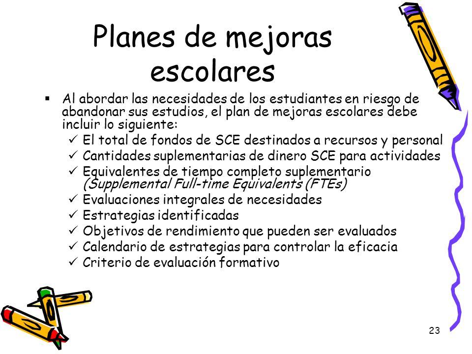 Planes de mejoras escolares