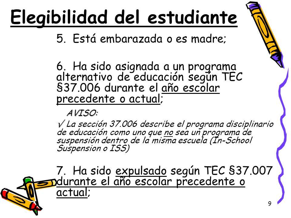 Elegibilidad del estudiante