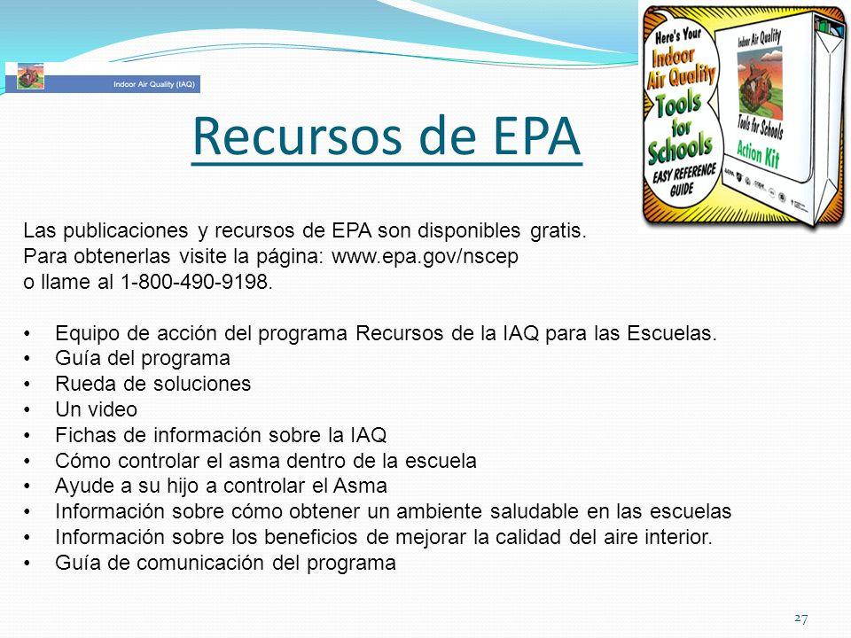 Recursos de EPALas publicaciones y recursos de EPA son disponibles gratis. Para obtenerlas visite la página: www.epa.gov/nscep.