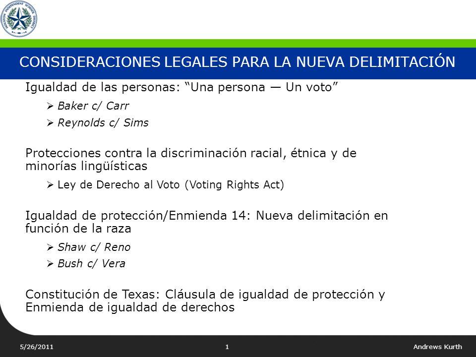 CONSIDERACIONES LEGALES PARA LA NUEVA DELIMITACIÓN