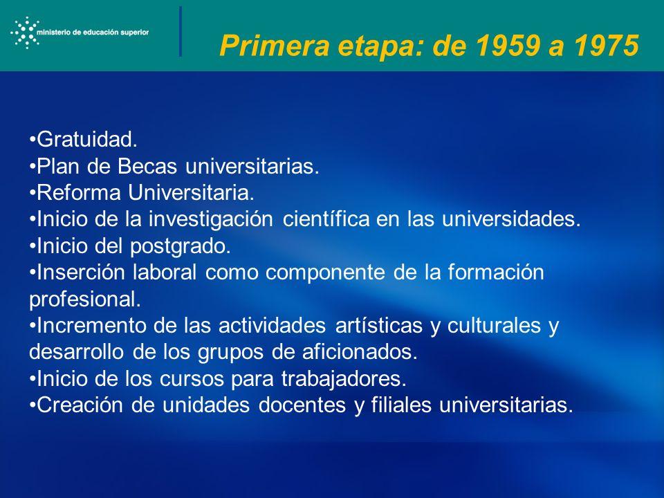 Primera etapa: de 1959 a 1975 Gratuidad. Plan de Becas universitarias.
