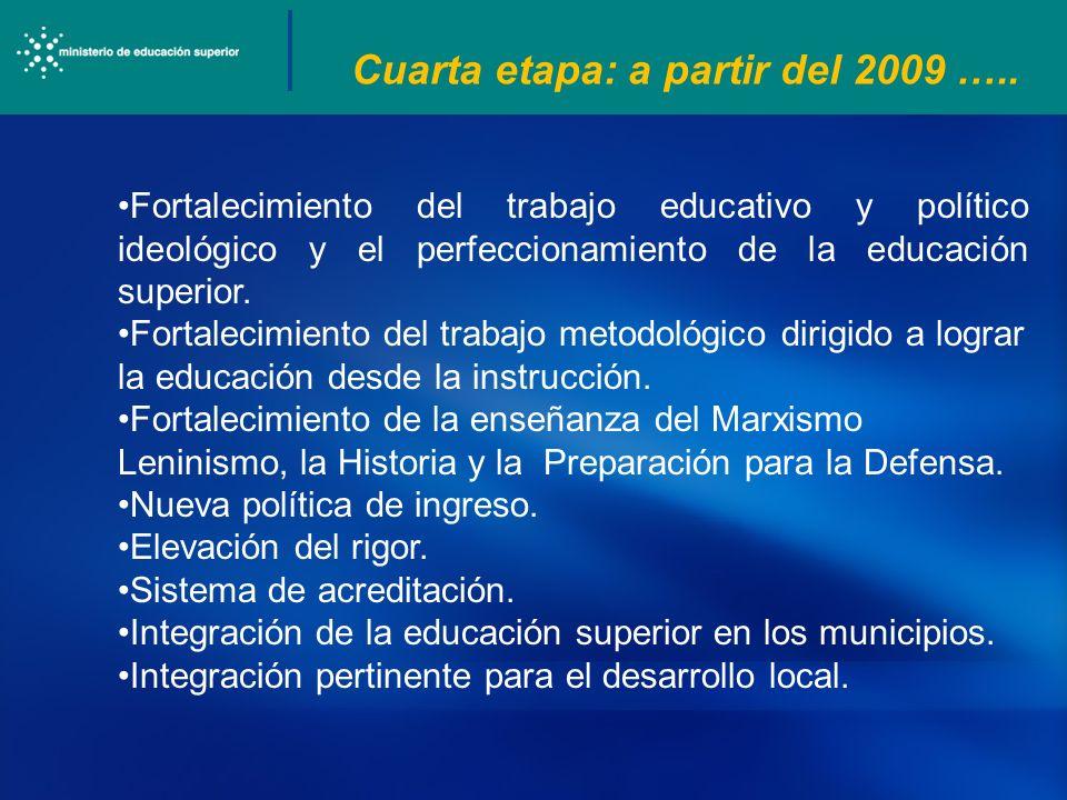 Cuarta etapa: a partir del 2009 …..