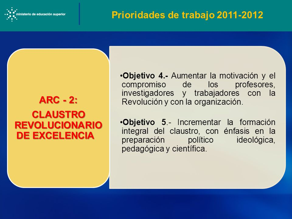 Prioridades de trabajo 2011-2012 CLAUSTRO REVOLUCIONARIO DE EXCELENCIA