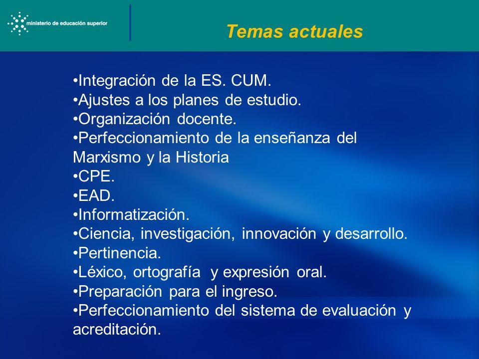 Temas actuales Integración de la ES. CUM.