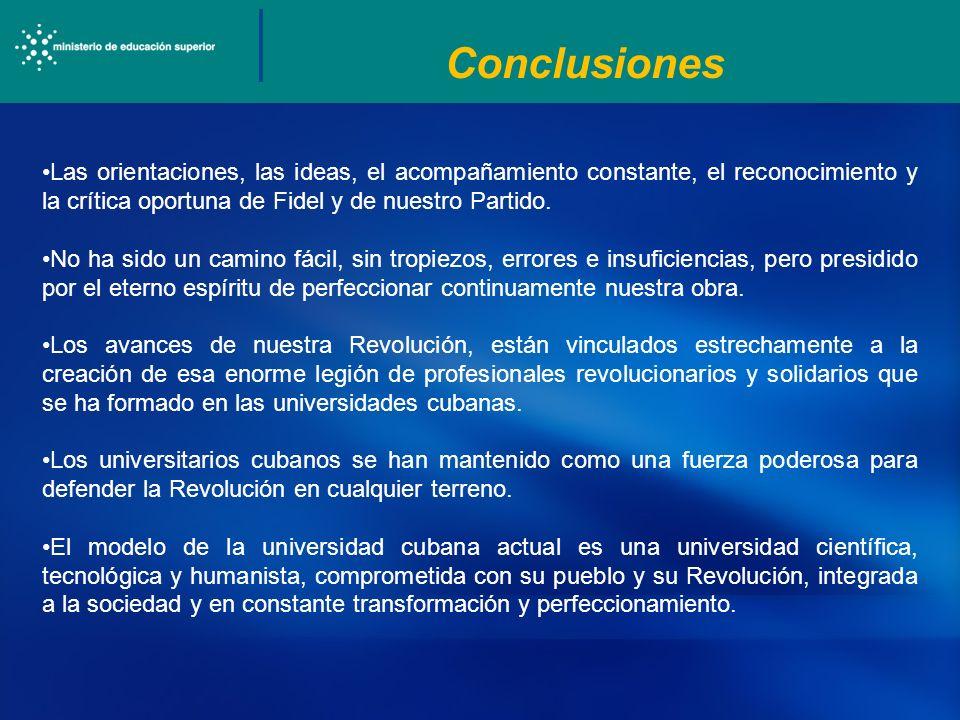 Conclusiones Las orientaciones, las ideas, el acompañamiento constante, el reconocimiento y la crítica oportuna de Fidel y de nuestro Partido.