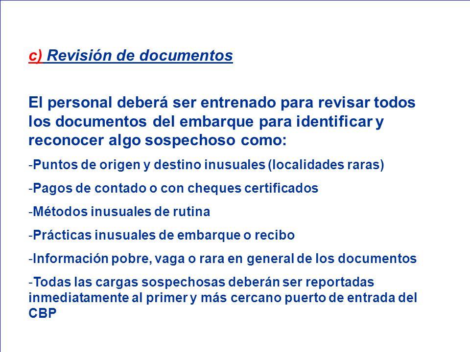 c) Revisión de documentos
