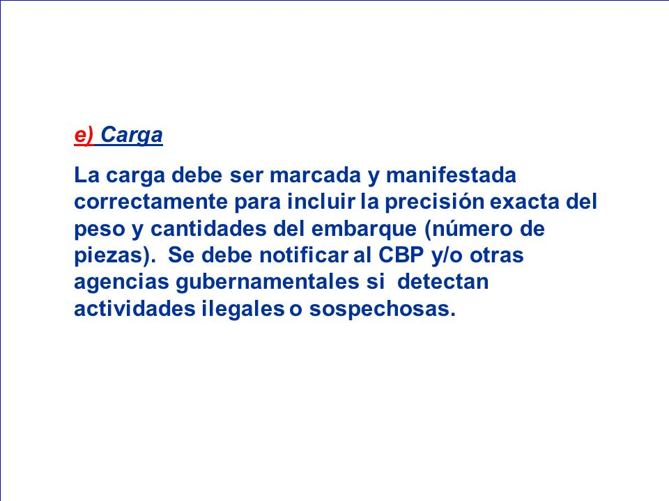 e) Carga