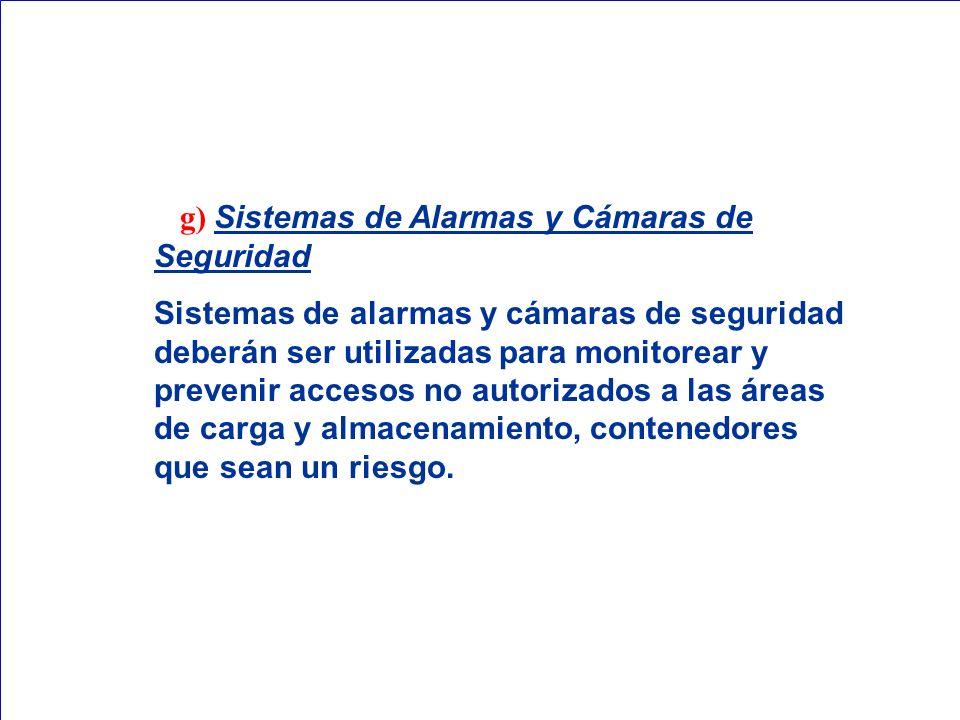 g) Sistemas de Alarmas y Cámaras de Seguridad