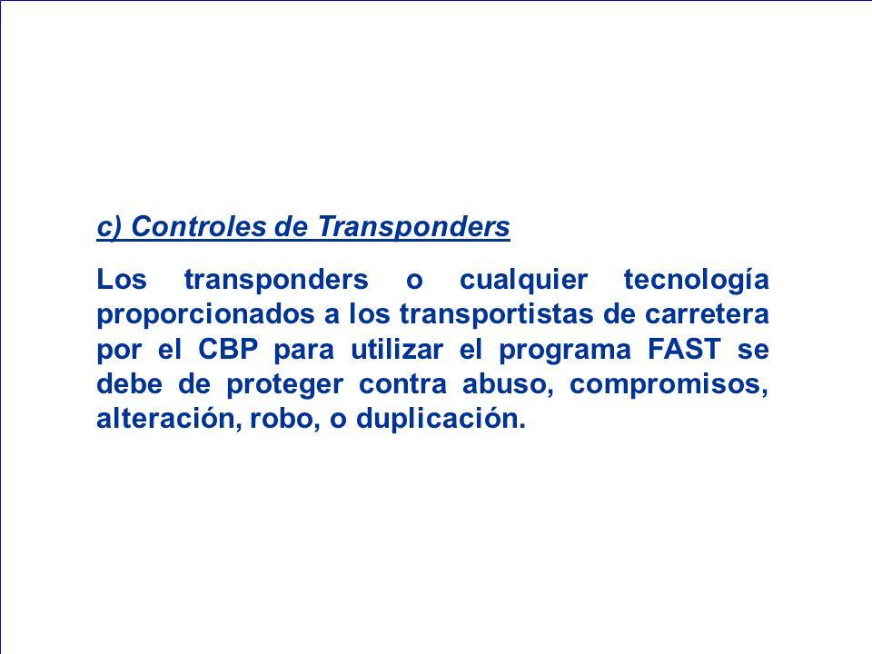 c) Controles de Transponders