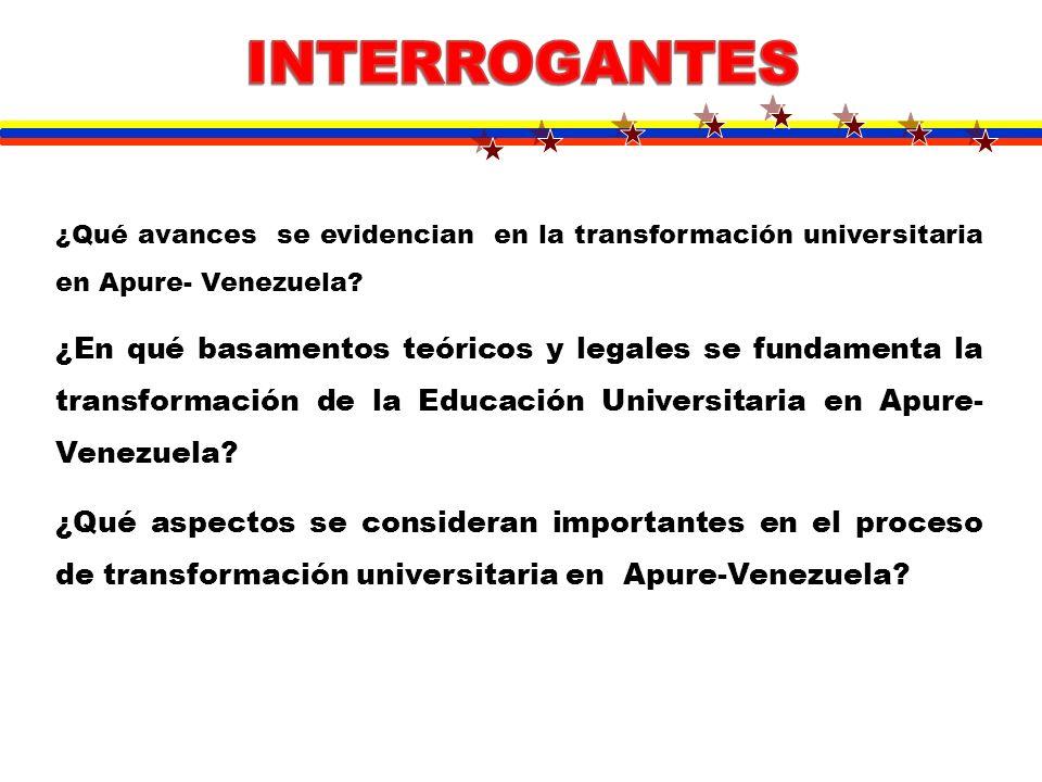 INTERROGANTES ¿Qué avances se evidencian en la transformación universitaria en Apure- Venezuela