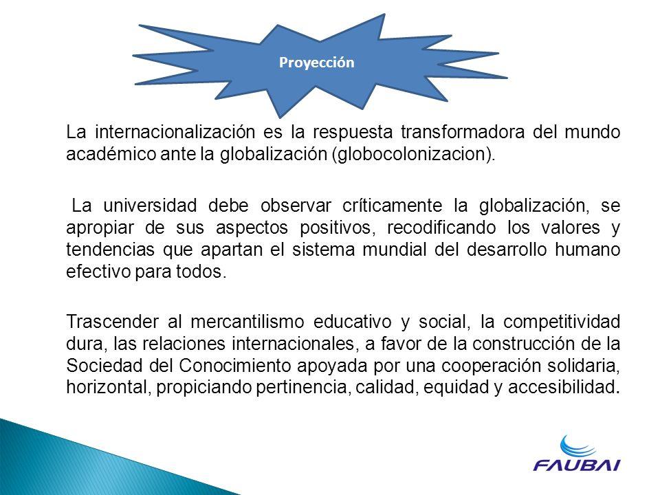 Proyección La internacionalización es la respuesta transformadora del mundo académico ante la globalización (globocolonizacion).