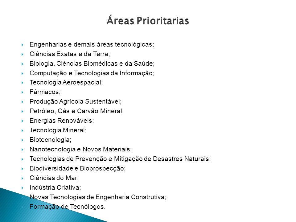 Áreas Prioritarias Engenharias e demais áreas tecnológicas;