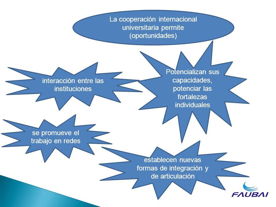La cooperación internacional universitaria permite (oportunidades)