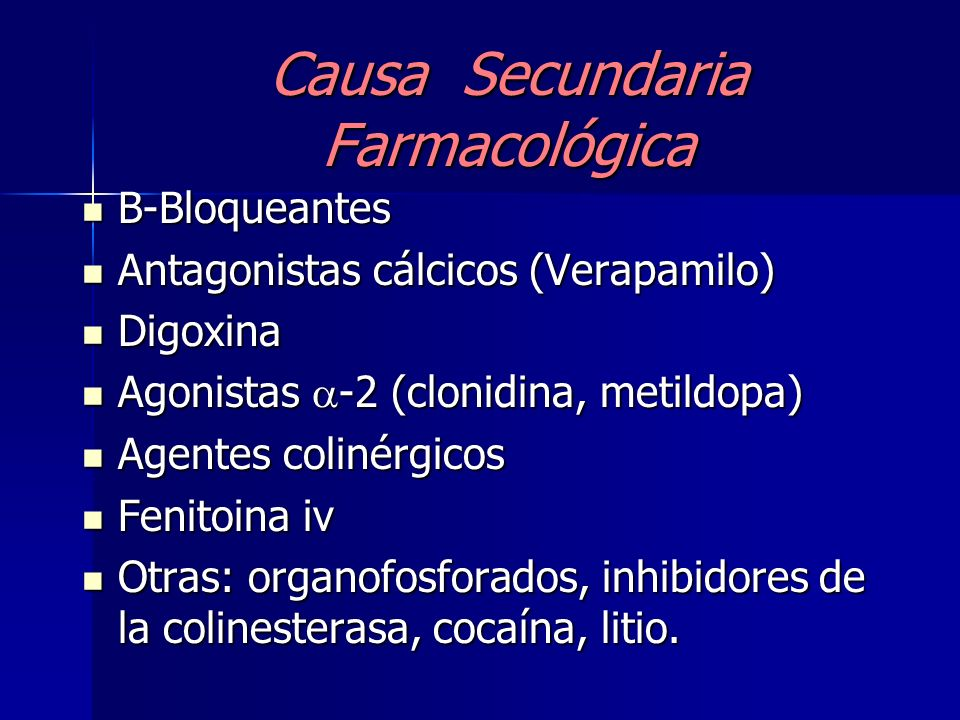 Causa Secundaria Farmacológica