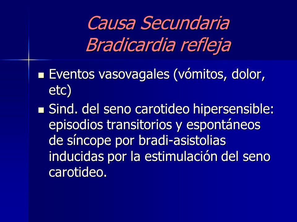 Causa Secundaria Bradicardia refleja