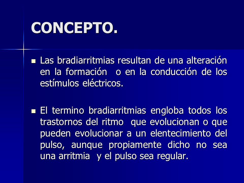 CONCEPTO.Las bradiarritmias resultan de una alteración en la formación o en la conducción de los estímulos eléctricos.