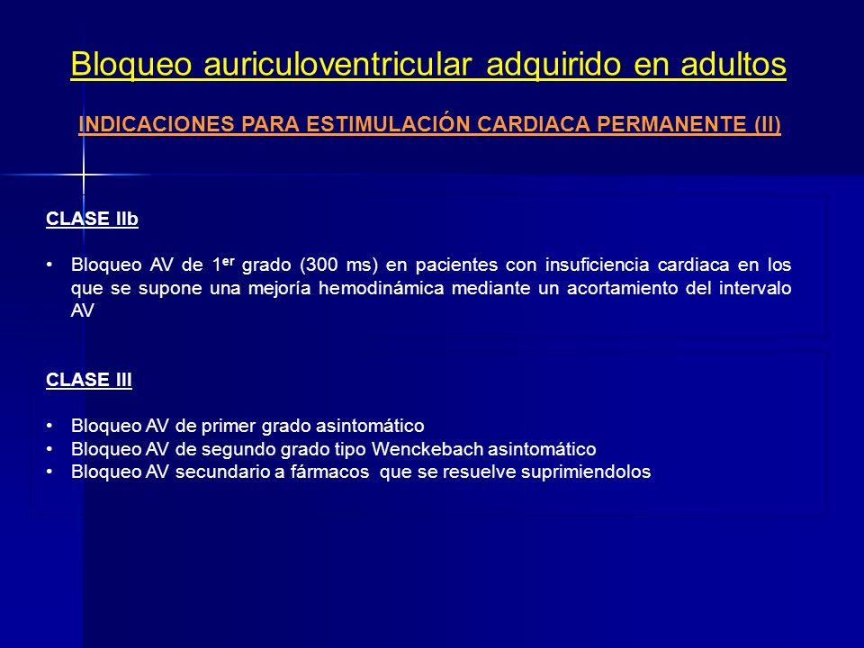 INDICACIONES PARA ESTIMULACIÓN CARDIACA PERMANENTE (II)