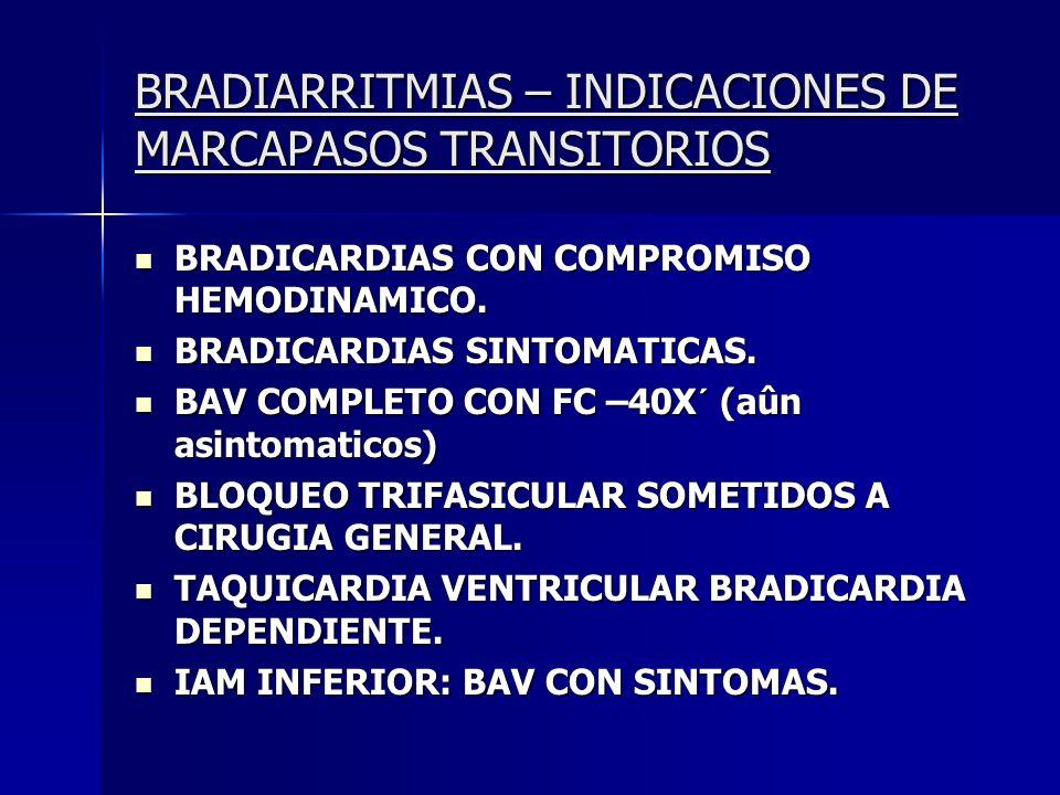 BRADIARRITMIAS – INDICACIONES DE MARCAPASOS TRANSITORIOS