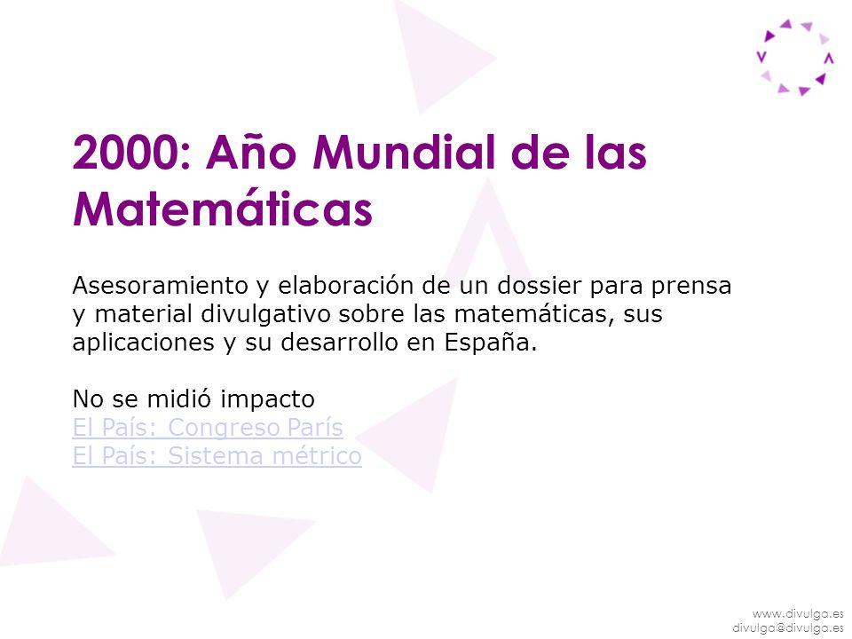 2000: Año Mundial de las Matemáticas