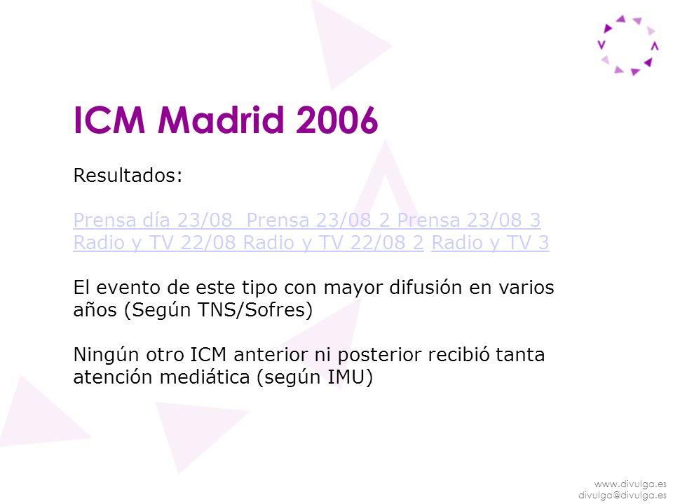 ICM Madrid 2006 Resultados: