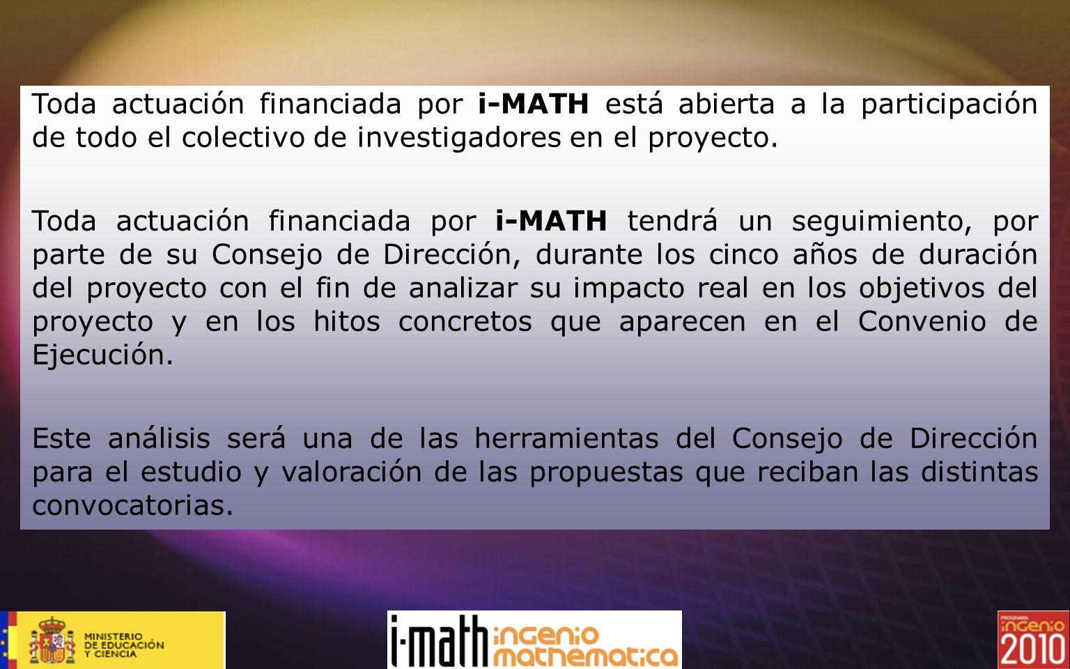 Toda actuación financiada por i-MATH está abierta a la participación de todo el colectivo de investigadores en el proyecto.