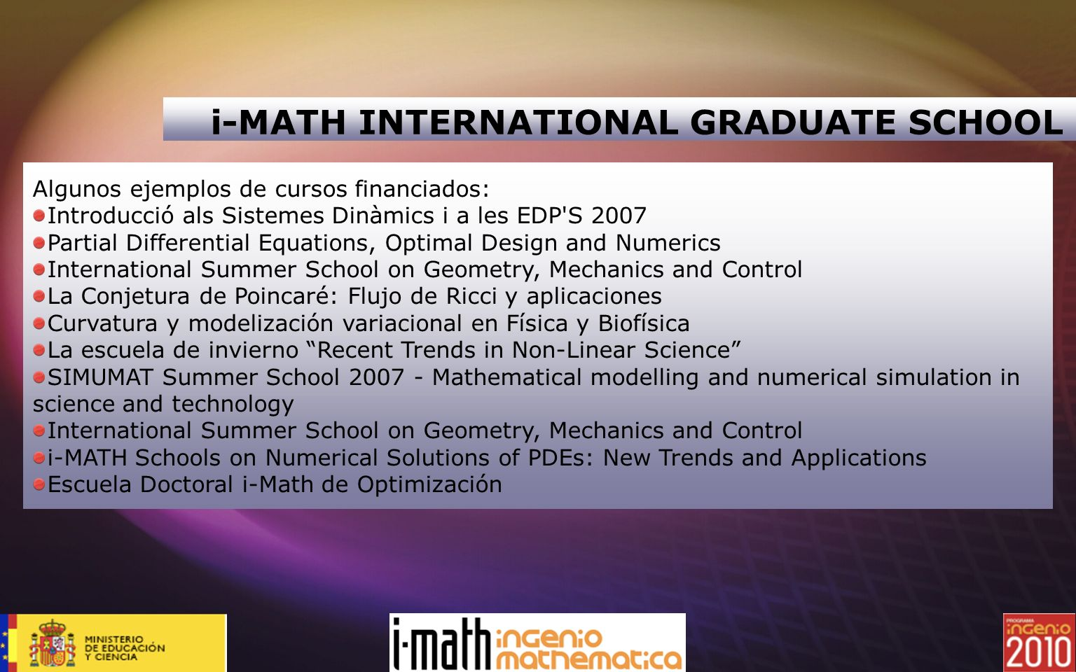 i-MATH INTERNATIONAL GRADUATE SCHOOL
