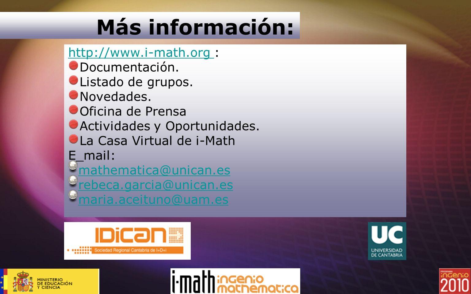 Más información: http://www.i-math.org : Documentación.