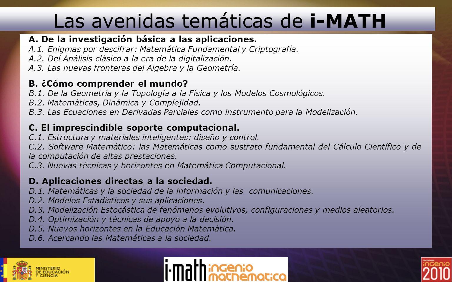 Las avenidas temáticas de i-MATH