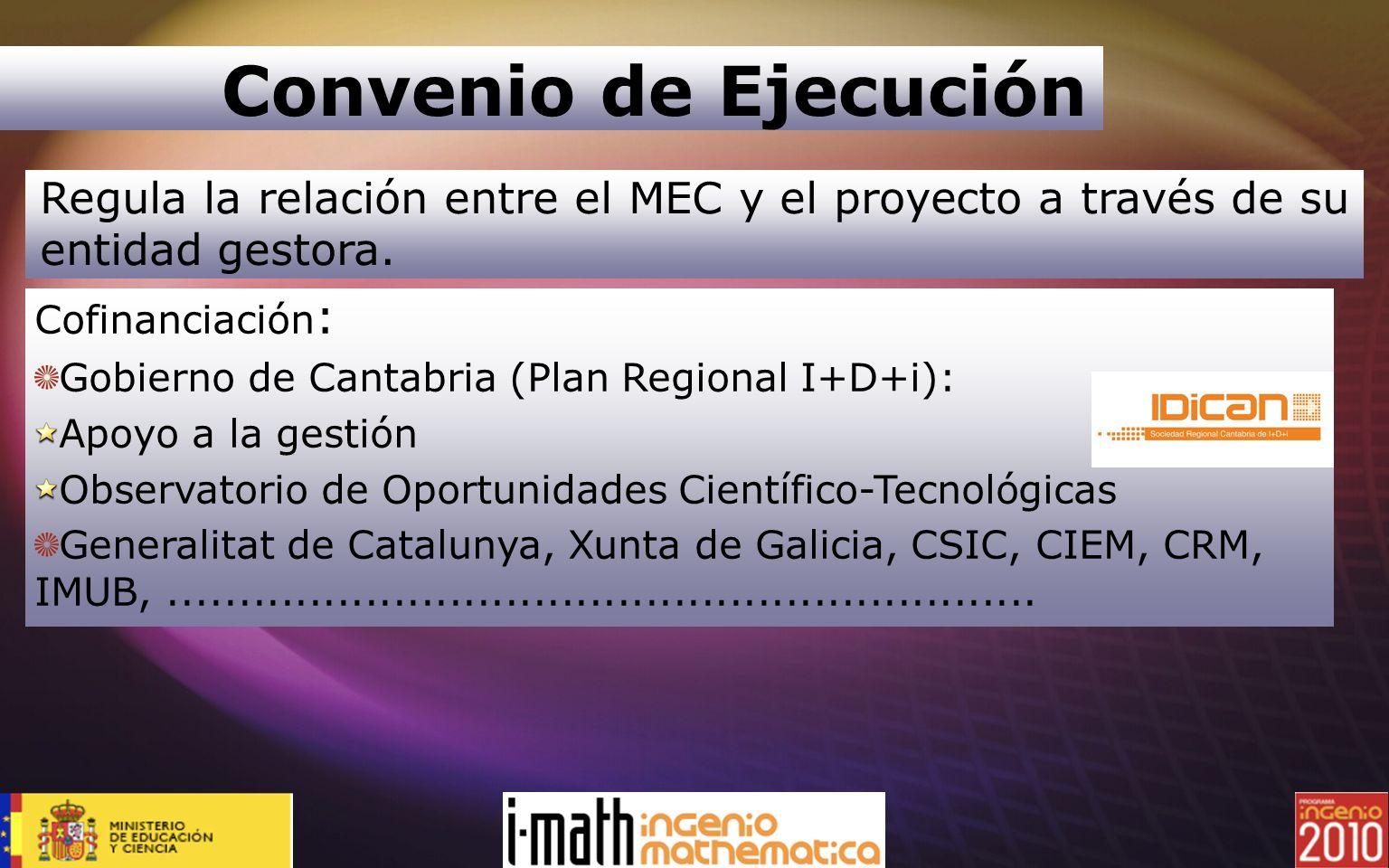 Convenio de EjecuciónRegula la relación entre el MEC y el proyecto a través de su entidad gestora. Cofinanciación: