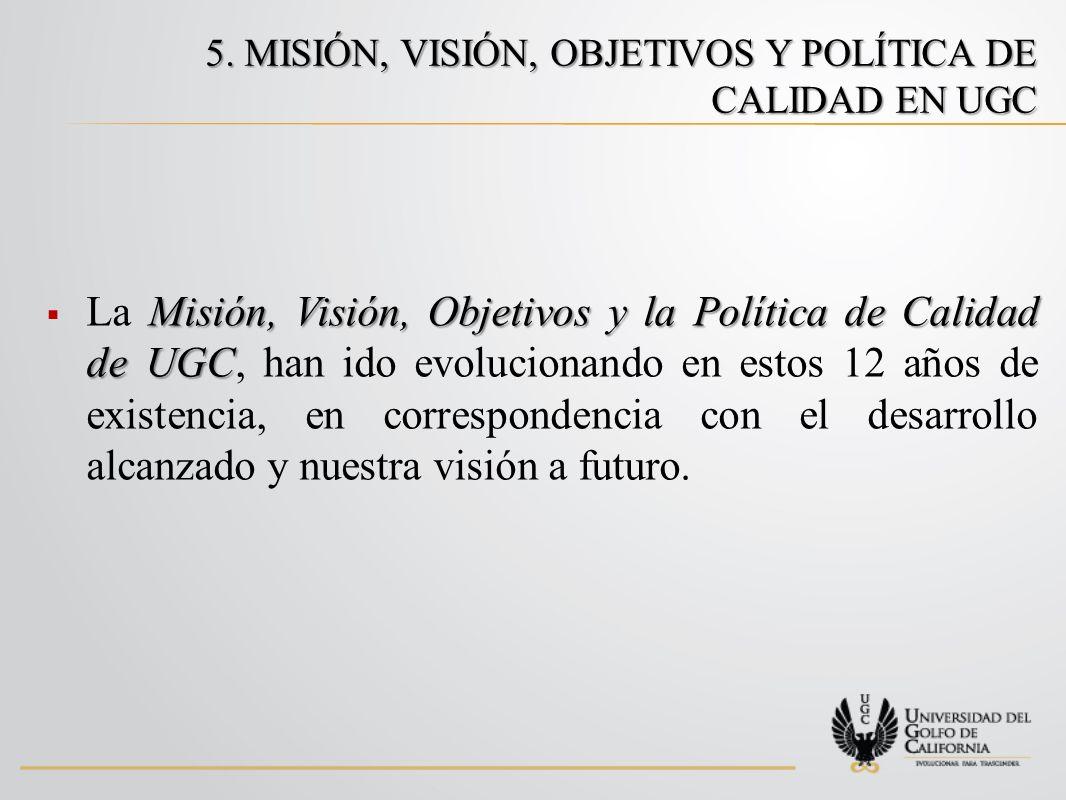 5. MISIÓN, VISIÓN, OBJETIVOS Y POLÍTICA DE CALIDAD EN UGC